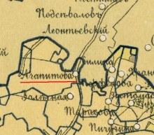 д. Агапитова на карте 1885 г.