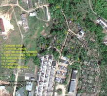 Схема Аленксандро-Невского монастыря на спутниковой карте