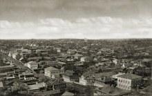 Вид на город с колокольни Благовещенской церкви (правее Спасской церкви). На горизонте церковь Рождества Пресвятой Богородицы