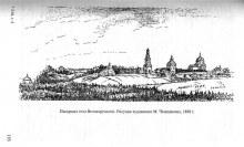 Панорама села Великорецкого. Рисунок М. Чемоданова, 1880 г.