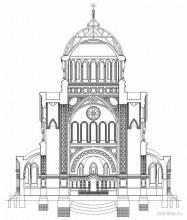 Аленксандро-Невский монастырь, Троицкий собор в разрезе, чертеж