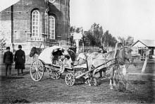 г. Глазов. Крестьянская повозка на соборной площади. Историческое фото.