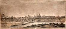 Петр Михайлович Шестаков. Панорама г. Вятки из-за реки (литография И.А.Клюквина в С.-Пб.,1859 год)