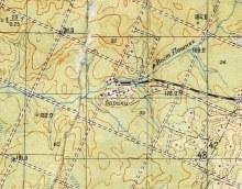 Бараки лагпункта на месте будущего посёлка Боровой (карта 1962 года, состояние местности конец 1950-х гг.)