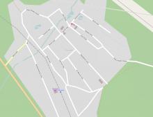 Карта поселка с названиями улиц на OpenStreetMap
