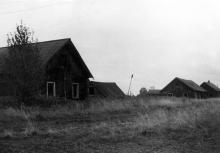 Улица в поселке Соз (бывший Трудпоселок № 4). Нагорский район Кировской области. Вид со стороны школы. Фото 29.08.1991